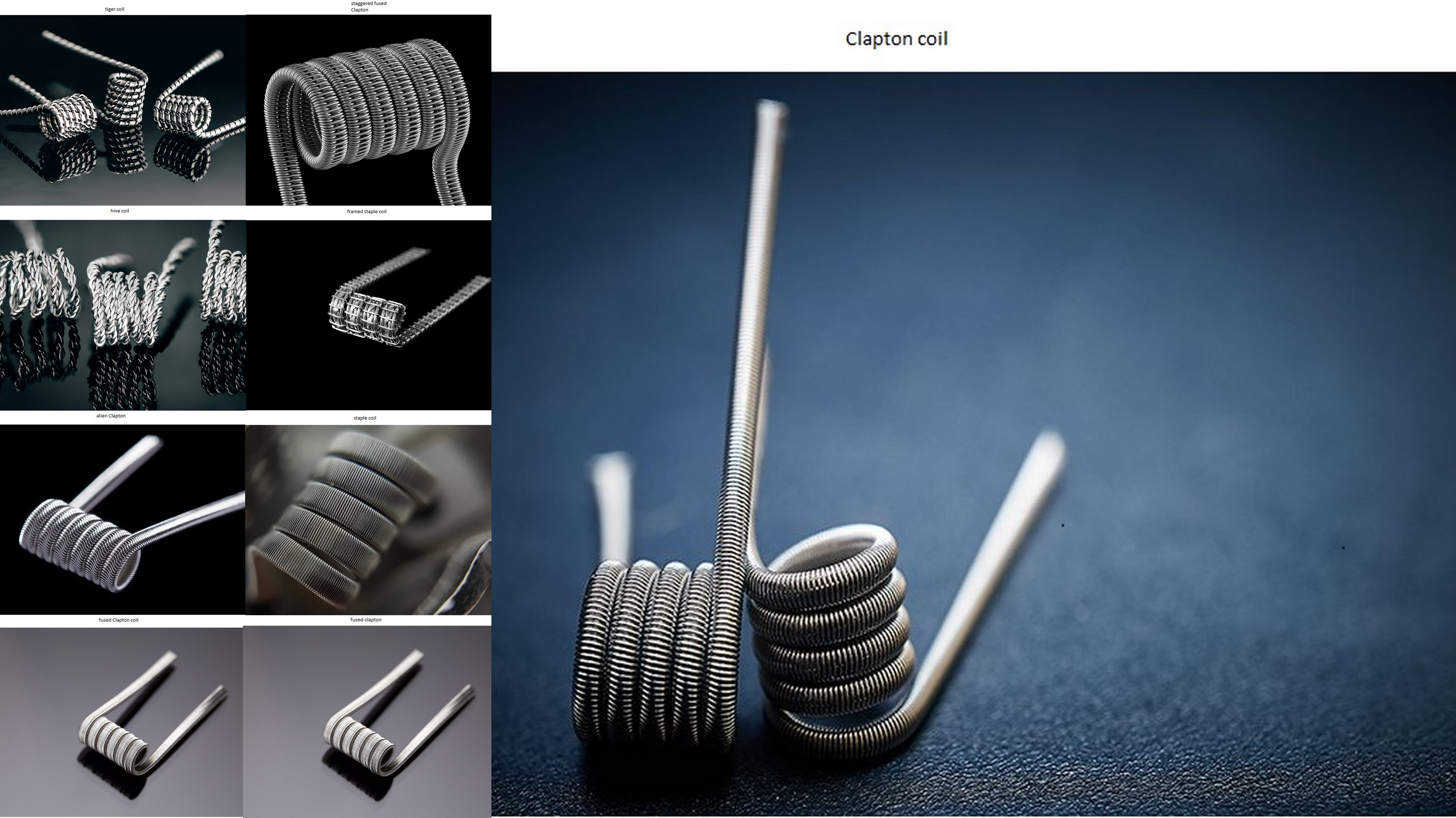 Tι ειναι το tiger coil,staple coil,staggered fused Clapton,hive coil,fused-clapton,fused Clapton coil,framed staple coil,Clapton coil.alien Clapton